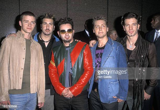 Pop group NSYNC Justin Timberlake Joey Fatone Chris Kirkpatrick Lance Bass and JC Chasez attend the Michael Jackson 30th Anniversary Celebration...