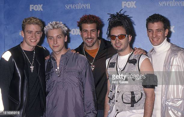 Pop group NSYNC Justin Timberlake Lance Bass Joey Fatone Chris Kirkpatrick and JC Chasez attend the First Annual Teen Choice Awards on August 1 1999...