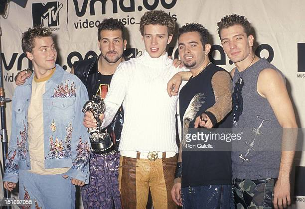 Pop group NSYNC Lance Bass Joey Fatone Justin Timberlake Chris Kirkpatrick and JC Chasez attend the 17th Annual MTV Video Music Awards on September 7...
