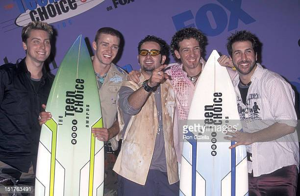Pop group NSYNC Lance Bass Justin Timberlake Chris Kirkpatrick JC Chasez and Joey Fatone attend the Third Annual Teen Choice Awards on August 12 2001...
