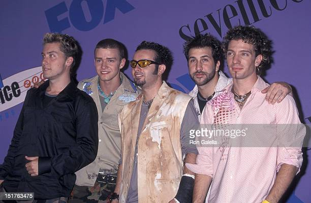 Pop group NSYNC Lance Bass Justin Timberlake Chris Kirkpatrick Joey Fatone and JC Chasez attend the Third Annual Teen Choice Awards on August 12 2001...