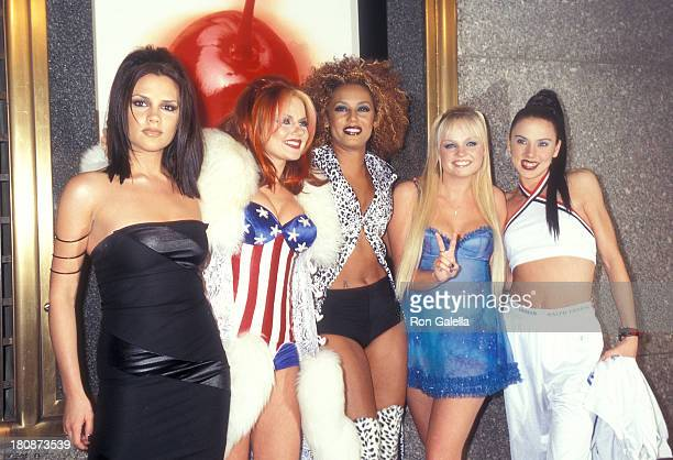 Pop group Spice Girls Posh Spice Victoria Adams Ginger Spice Geri Geri Halliwell Scary Spice Melanie Brown Baby Spice Emma Bunton and Sporty Spice...