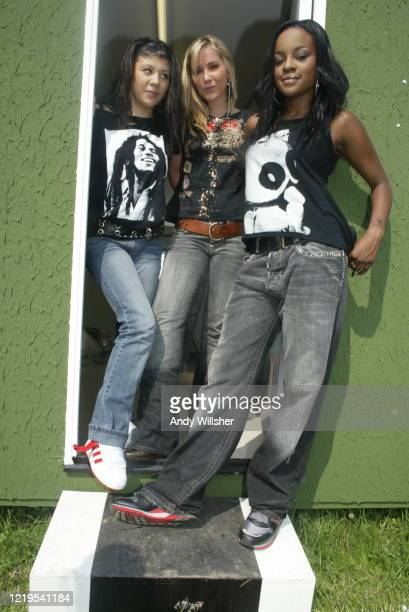 Pop group Sugababes photographed back stage at Glastonbury in 2003