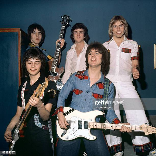 Pop group the Bay City Rollers Stuart Wood Les McKeown Derek Longmuir Ian Mitchell Eric Faulkner pose for a group shot in May 1976 in Copenhagen...