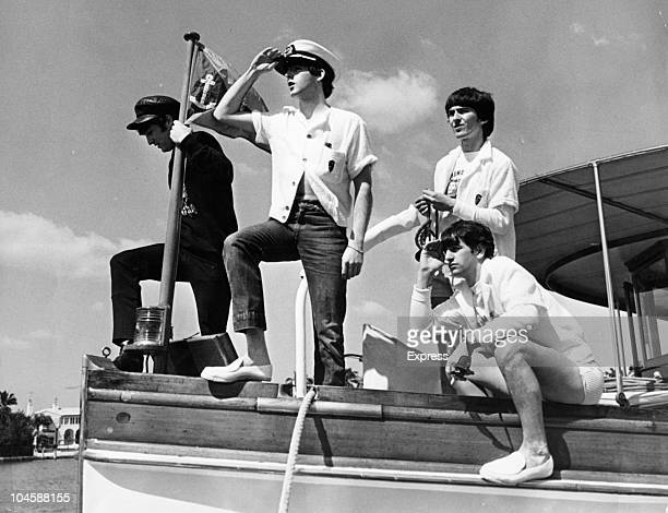 Pop group The Beatles set sail from Miami Beach Florida Left to right John Lennon Paul McCartney George Harrison and Ringo Starr circa February 1964