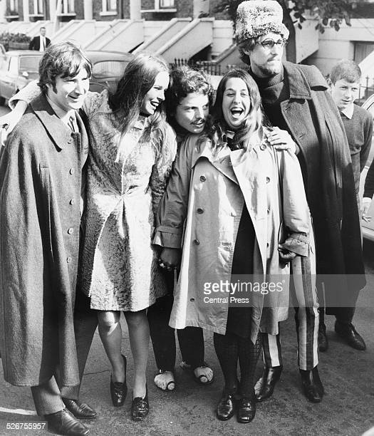 Pop group 'The Mamas and the Papas' Denny Doherty Michelle Gillian Cass Elliot and John Phillips pictured with singer Scott McKenzie London October...