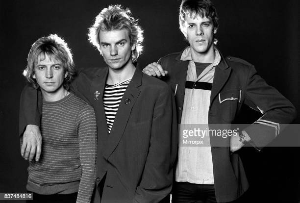 Pop group The police in studio 1980 Sting with Andy Summers and Stewart Copeland