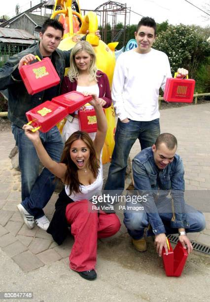 Pop Groupe Hear'Say Johnny Shentall Suzanne Shaw and Noel Sullivan and Myleene Klass Danny Foster during their visit to Drayton Manor Park Tamworth...