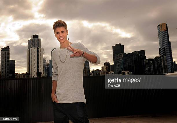 Pop idol Justin Bieber poses during a portrait shoot at FOX FM Studios on July 16 2012 in Melbourne Australia