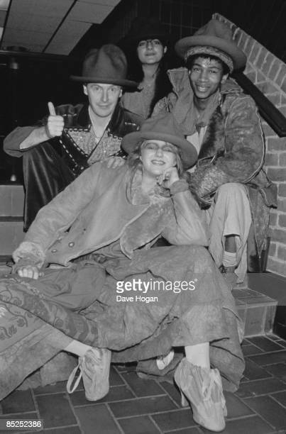 Pop impresario Malcolm McLaren and models wearing outfits from designer Vivienne Westwood's 'Buffalo' collection London February 1983