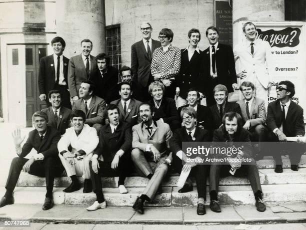 4th September 1967 BBC Radio One DJ's Back row leftright Tony Blackburn Jimmy Young Kenny Everett Duncan Johnson Station Manager Robin Scott David...