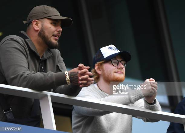 Pop Music singer songwriter Ed Sheeran watch play from the hospitality boxes during day one of the 4th Ashes Test match between England and Australia...