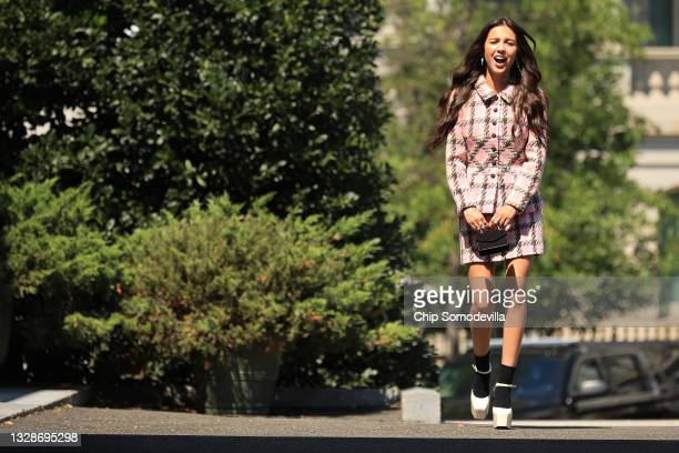 Pop music star and Disney actress Olivia Rodrigo arrives at the White House on July 14, 2021 in Washington, DC. Rodrigo is partnering with the White...