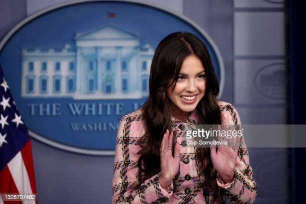 Pop music star and Disney actress Olivia Rodrigo makes a brief statement to reporters at the beginning of the daily news conference in the Brady...