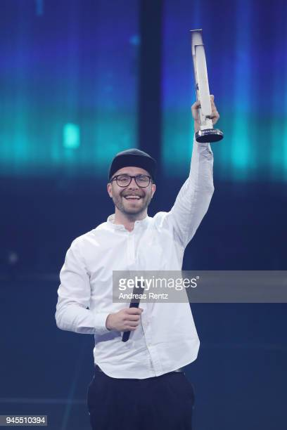 'Pop National' award winner Mark Forster speaks on stage during the Echo Award show at Messe Berlin on April 12 2018 in Berlin Germany