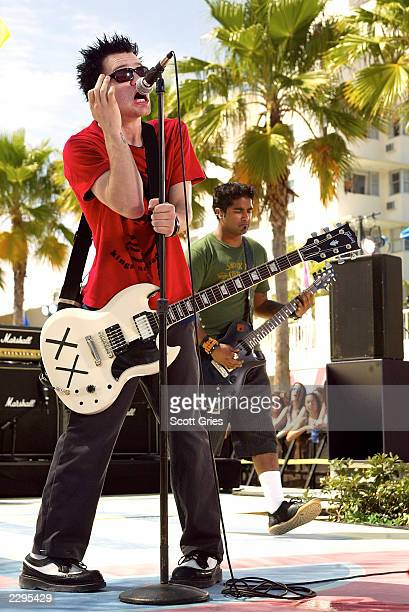 Pop punk band Sum 41 performs during a taping for MTV Spring Break 2003 at the Surfcomber Hotel March 12 2003 in Miami Beach Florida