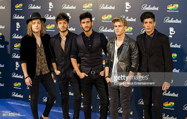 Pop Rock band Auryn members attend the 40 Principales Awards 2015 photocall at Barclaycard Center on December 11 2015 in Madrid Spain