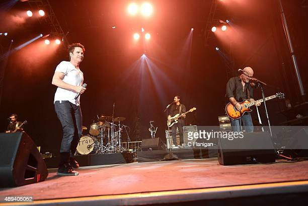 Pop rock band Train performs onstage during 2015 KAABOO Del Mar at the Del Mar Fairgrounds on September 20, 2015 in Del Mar, California.