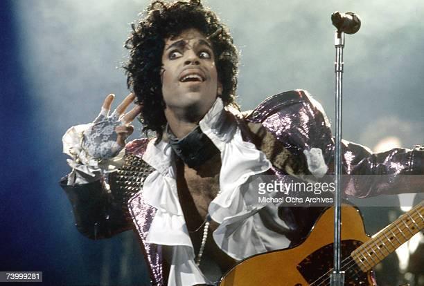 Pop rock impresario Prince performs onstage in 1985 in Los Angeles, California.