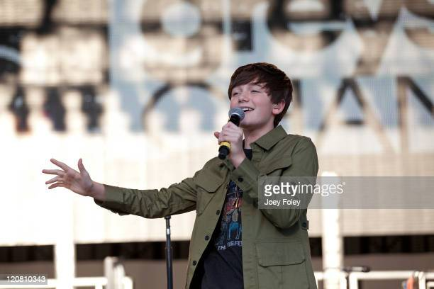 Pop rock singer Greyson Chance performs onstage as the opening act on the Dancing Crazy Tour at Fraze Pavilion on August 10 2011 in Kettering Ohio