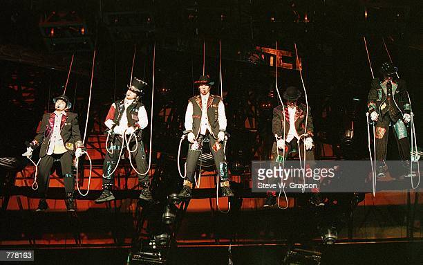 Pop sensation ''N SYNC perform at the Rose Bowl June 9 2000 to promote their new album No Strings Attached in Pasadena Ca