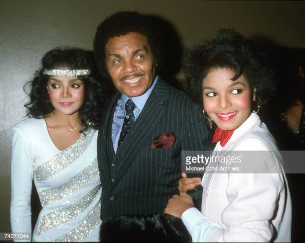Pop singer and actress Janet Jackson attends the RB Awards with her father Joe Jackson and sister LaToya Jackson on February 4 1983 in Los Angeles...