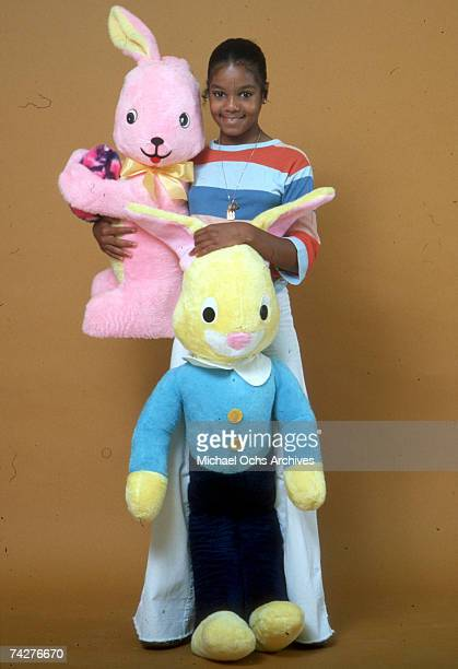 Pop singer and actress Janet Jackson poses for a portrait session with stuffed animals on July 7, 1978 in Los Angeles, California.
