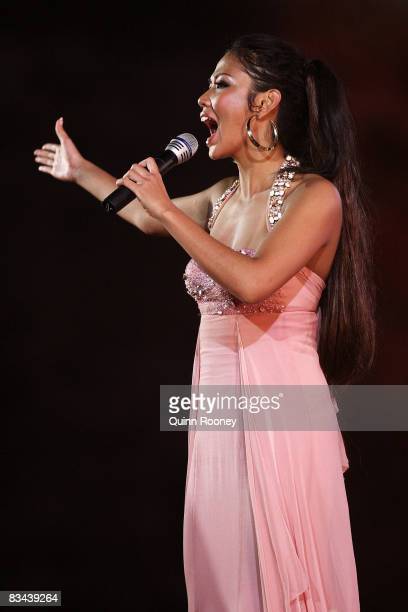 Pop singer Ashanti performs during the Closing Ceremony for the First Asian Beach Games at Garuda Wisnu Kencana Cultural Park October 26 2008 in...