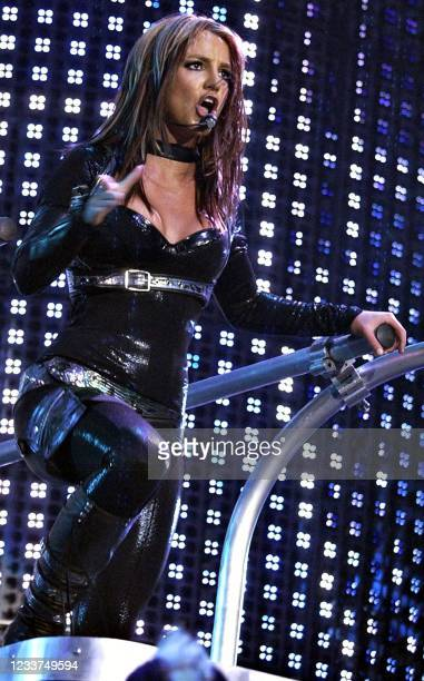 Pop singer Britney Spears launches her European tour 26 April 2004 London. Spears is expected to sell more than USD 10 million in concert souvenirs...
