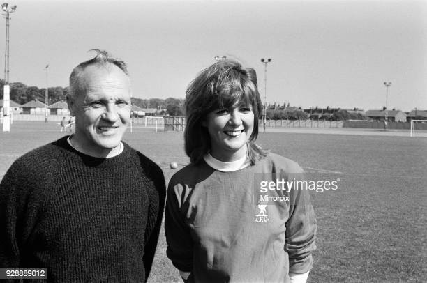 Pop singer Cilla Black and comedian Jimmy Tarbuck paid a visit to the training ground of Liverpool Football Club at Melwood, West Derby to film a...