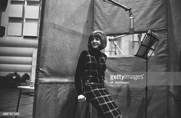 Pop singer Cilla Black in a recording studio, January 10th 1964.