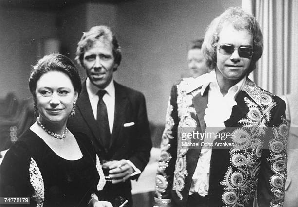 Pop singer Elton John meets Princess Margaret The Countess of Snowdon in circa 1975 in England