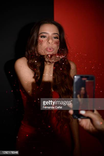 """Pop singer Emilia Pedersen poses during the release of her new music video, """"Missing Myself,"""" on December 19, 2020 in Great Neck, New York."""