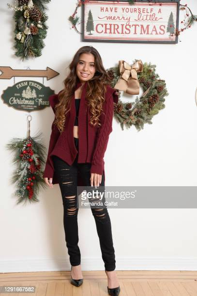 Pop Singer Emilia Pedersen prepares her house for her Virtual Holiday Greeting on December 16, 2020 in Great Neck, New York.