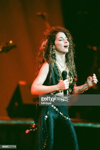 Pop singer Gloria Estefan performing on stage during a concert in Britain 24th September 1989