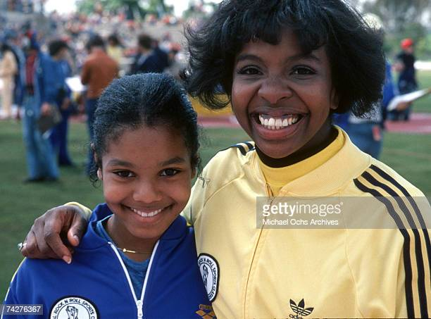 Pop singer Janet Jackson and RB singer Gladys Knight joke on the set of the first episode of 'The Rock N' Roll Sports Classic' which aired on May 3...