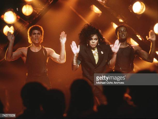 Pop singer Janet Jackson performs on the TV show Solid Gold in 1987 and filmed in Los Angeles California