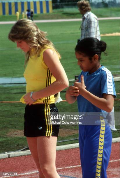 Pop singer Janet Jackson prepares for a competition on set of the first episode of 'The Rock N' Roll Sports Classic' which aired on May 3 1978 in Los...