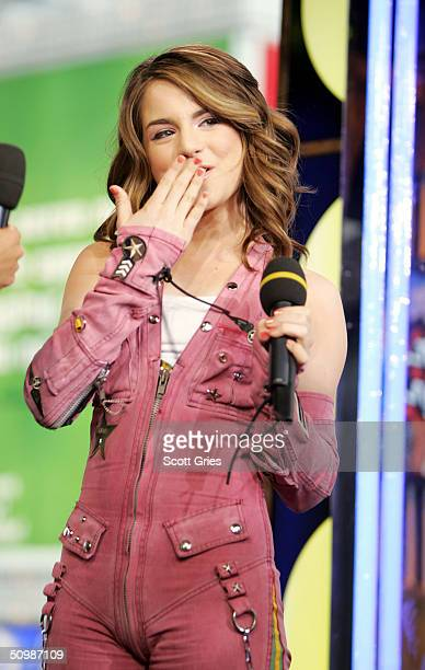 Pop singer JoJo appears on stage during MTV's Total Request Live at the MTV Times Square Studios June 22 2004 in New York City