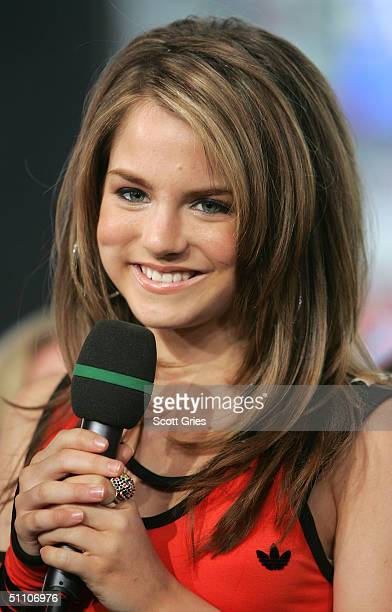 Pop singer Jojo appears on stage during MTV's Total Request Live at the MTV Times Square Studios July 22 2004 in New York City