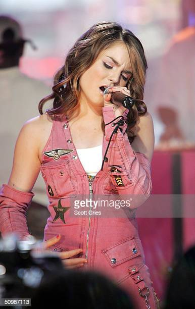 Pop singer JoJo performs on stage during MTV's Total Request Live at the MTV Times Square Studios June 22 2004 in New York City