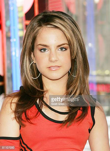Pop singer Jojo poses for a photo on stage during MTV's Total Request Live at the MTV Times Square Studios July 22 2004 in New York City