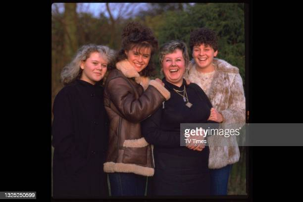 Pop singer Lisa Stansfield photographed with her mother and two sisters, circa 1983.