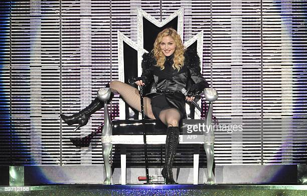 US pop singer Madonna performs during her 'Sticky and Sweet Tour' concert at Ullevi stadium on August 8 2009 in Gothenburg