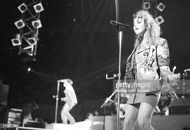 Pop singer Madonna performs onstage at Madison Square Garden in 1984 in New York City New York