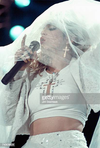 Pop singer Madonna performs onstage in 1985 in St Paul Minnesota