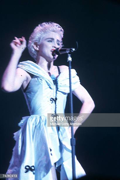 Pop singer Madonna performs onstage on August 6 1987 in Los Angeles California