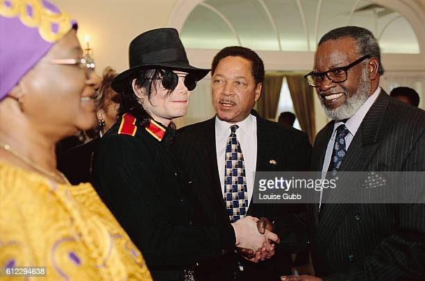 Pop singer Michael Jackson and his businesspartner Don Barden meet with Namibian president Samuel Nujoma and President Nujoma's wife Kovambo at the...