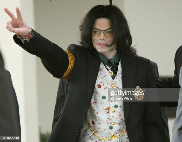 Pop singer Michael Jackson gestures as he leaves the Santa Barbara County Courts for the third day of his child molestation trial The entertainer...