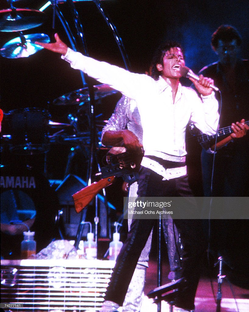 Pop singer Michael Jackson of the R&B quintet 'Jackson 5' performs onstage during the 'Victory Tour' in December 1984 in Los Angeles, California.